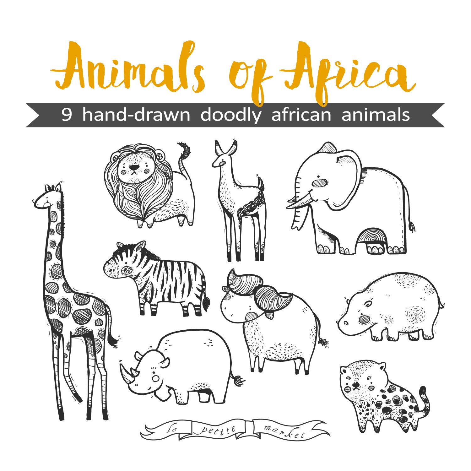 Hand Drawn Cute Animals Of Africa Clipart Illustration