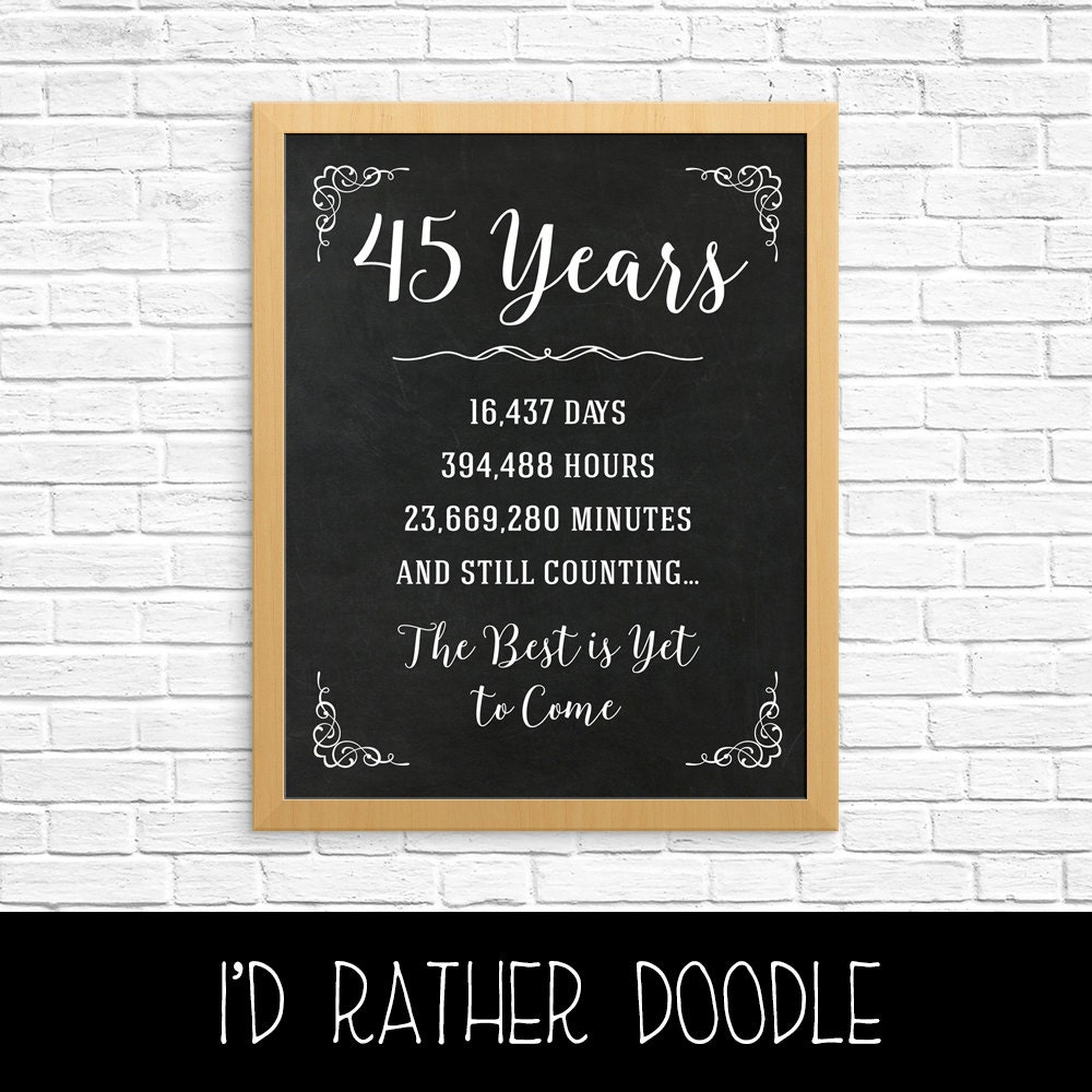 Traditional 45th Wedding Anniversary Gift: 45th Anniversary Gift 45th Year Wedding By IdRatherDoodle