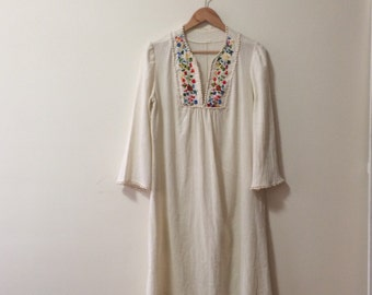 Vintage embroidered white gauze long dress with bell sleeves