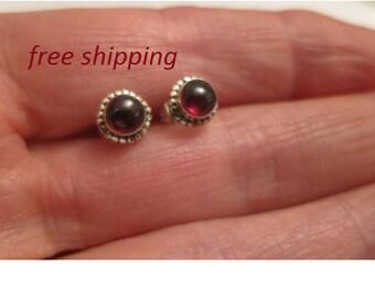 Garnet silver stud earrings