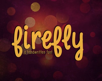 "Digital Font Download- Handwritten Font for Commercial Use- ""Firefly""- True Type Font (ttf) Instant Download"