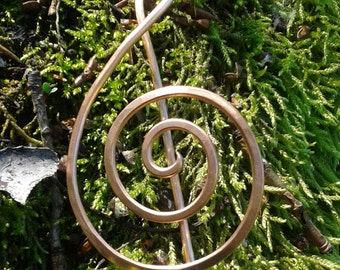 Handmede copper violin clef hairpin