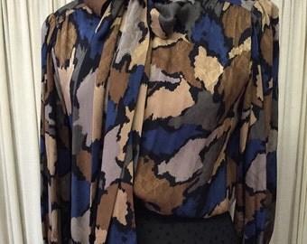 Vintage {Ernest Strauss} Blue/Camel/Black Silk Tie Neck Blouse, Size Med