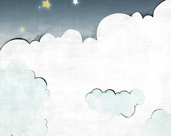 Clouds and Stars Nursery Print - Yellow and Navy Kids Room Decor