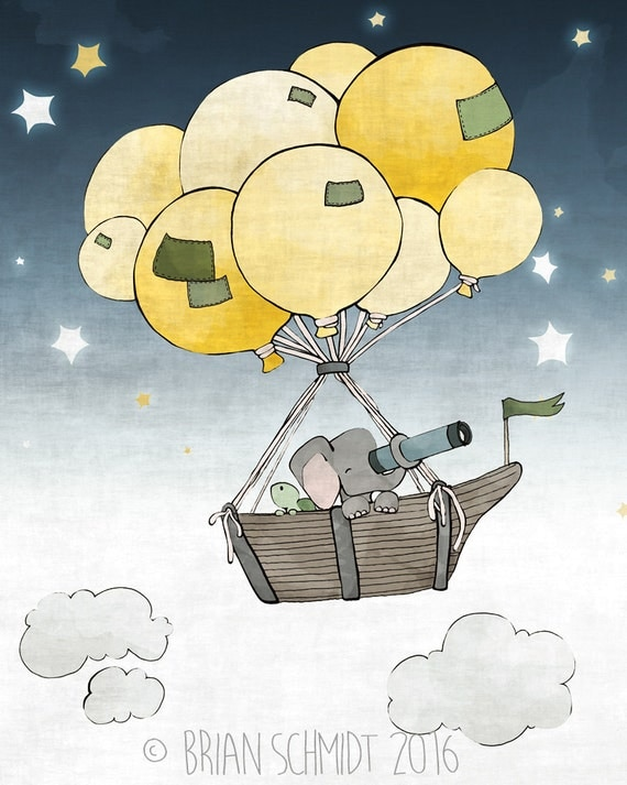 Elephant and Turtle Boat and Balloons Nursery Print - Stars and Clouds, Childrens Room Art, Yellow Green and Blue