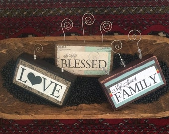 Photo Block Frame,Picture Holder,Wooden Block with Quote,Shabby Chic,Rustic Design