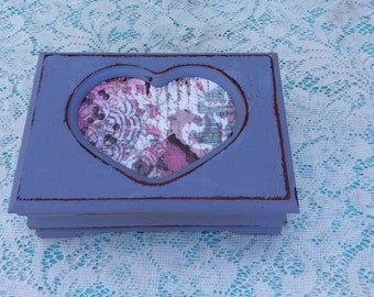 Shabby Chic Lavender Jewelry Box Decoupaged Face