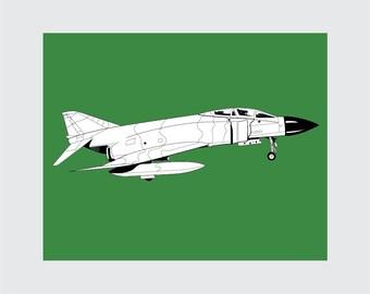 Jet Art Print, 8x10 PRINTABLE, F-4 Phantom, Instant Download, Digital