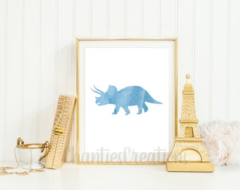 Triceratops Light Blue Watercolor Wall Art Printable. Printable Dinosaur Wall Art for Little Boys Room.