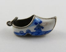 Dutch Clog With Blue and White Enamel Sterling Silver Vintage Charm For Bracelet