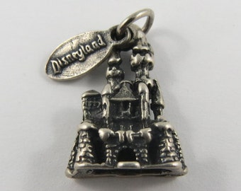 Disneyland Sleeping Beauty's Castle With Disneyland Tag Sterling Silver Vintage Charm For Bracelet