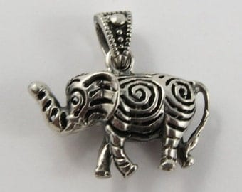 Hollow Elephant With Spiral Design Sterling Silver Vintage Charm For Bracelet
