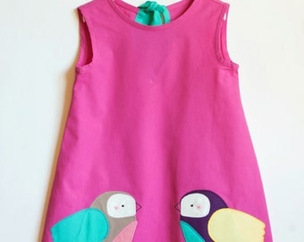 Girl Dress Girl Birthday Dress Dress for Girl Bird Dress Cotton Dress Girl Toddler Dress Girl Dress Toddler Applique Dress For Toddler Dress