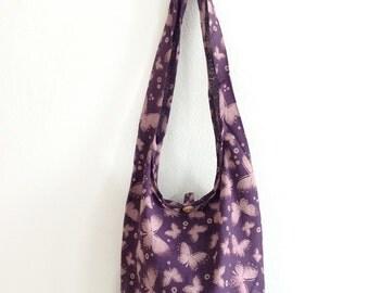 Butterfly Print Sling Shoulder Bag CrossBody Bag Messenger Bag Cotton Bag Hippie Boho Style Handmade Purple