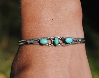 Native american turquoise cuff and sterling silver