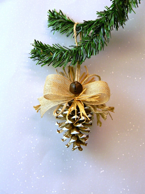Rustic christmas ornament bleached pine cone with burlap bow rust
