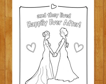 LGBTQ Wedding Coloring Page Printable Download - Children Kids Activity Page - Lesbian Marriage Celebration DIY - Gay Reception Activities