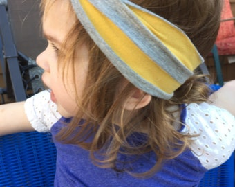 Knotted Turban Baby Headband Mustard Yellow and Gray Stripe