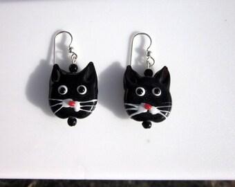 Black Cat Glass Bead Earrings - #
