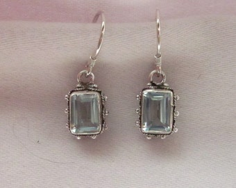 Blue Topaz Glass & Sterling Silver Earrings - #32