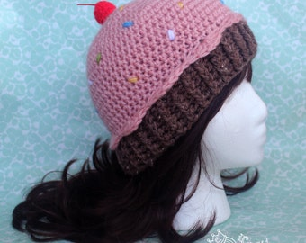 Crochet Cupcake Beanie Hat, Made to Order