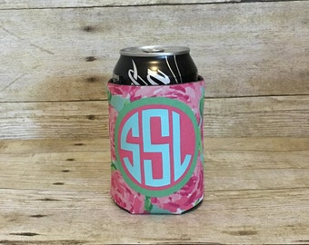 Lilly Inspired Can Cooler | Monogrammed Can Cooler | Stocking Stuffer | Personalized Gift | Bridesmaid Gift | Birthday Gift for Woman