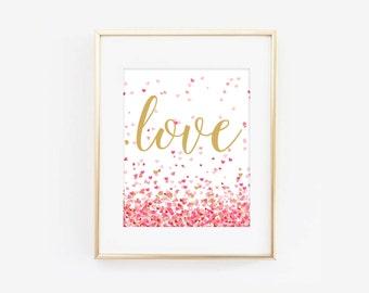 Valentines Day Love Heart Confetti Digital Printable Valentines Day Art Print