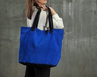 Blue leather tote bag, large leather shoulder bag, suede shopping bag, suede tote bag, cobalt blue shoulder bag ,cobalt blue leather tote,