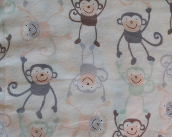 Pastel Monkeys Flannel Baby Blanket