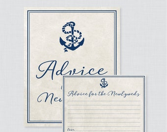 Advice for the Newlyweds Bridal Shower Activity - Printable Nautical Bridal Shower Advice Cards and Sign - Navy Anchor Bridal Shower 0011