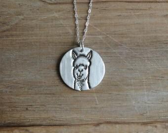 Alpaca fine silver pendant