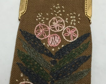 Vintage Purse Embroidery Handmade Chain Snap Closure Flowers Eyeglass Case Victorian