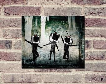 "Banksy, TV Heads (8"" x 10"") - Canvas Wrap Print"