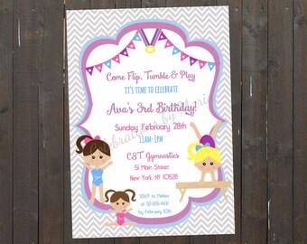 Gymnastic Birthday Invite, Gymnastics Invitation, Printable Gymnastic Invitation, Gymnastics Party, 4x6 or 5x7- Printable, Digital File