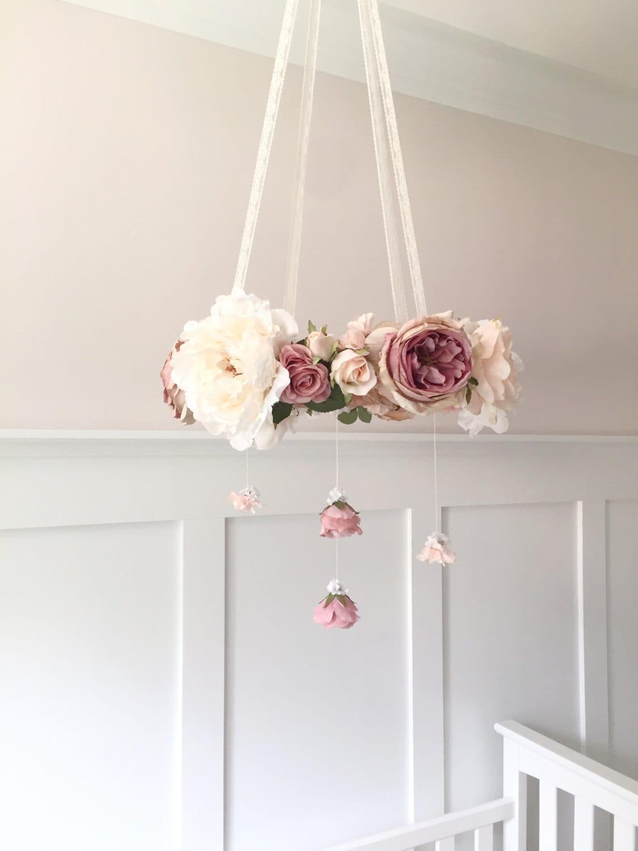 Mauve & blush nursery flower mobile crib mobile baby girl