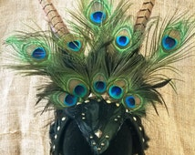 Tribal Pagan Headdress with feathers and studs, ceremonial, shamanic, Samba frame, Mad Max