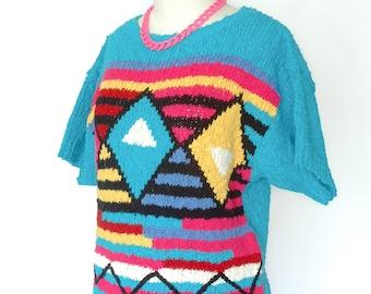1980s Aqua Blue Short Sleeved Graphic Sweater