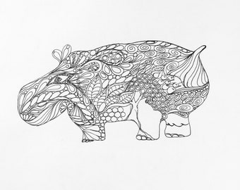 Zentangle Hippo, ink drawing, hippo drawing, wall art, original drawing , black and white,Zentangle drawing