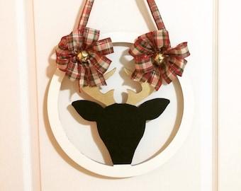 Reindeer Christmas wreath ; front door wreath ; holiday wreath ; reindeer wreath ; Christmas wreath ; gold Christmas wreath