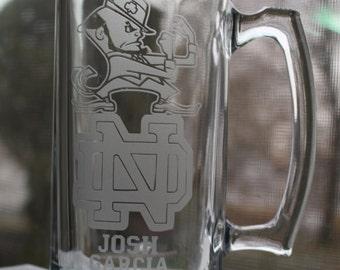 College logo University, High School, Trade School Logo Graduation Gift, Etched Glass, Sand Carved Beer mug