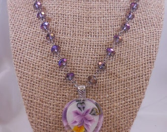 Purple Aurora Borealis Purple Orchid Reverse Carve Pendant Necklace