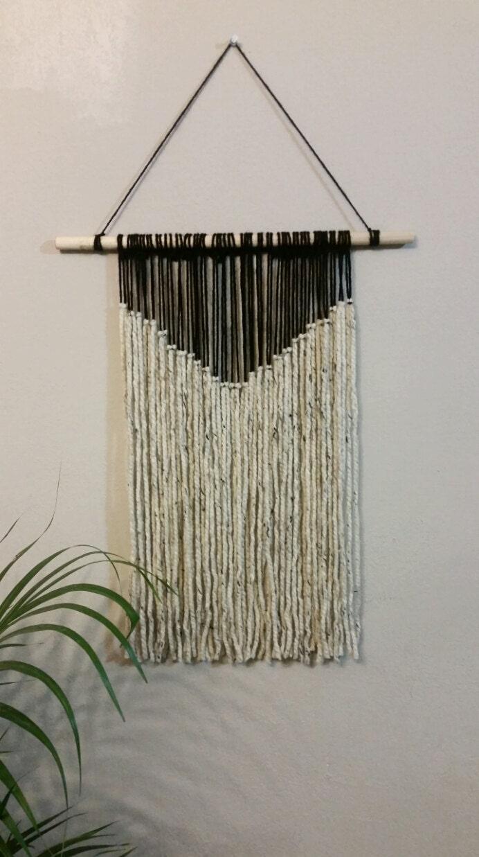 Yarn tapestry bohemian yarn wall hanging black and beige for Yarn wall hanging