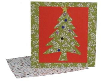 Christmas Tree Card, Christmas Card, Xmas Tree Card, Green and Red Christmas Card, Embellished Xmas Card, Family Xmas Card, Festive Card