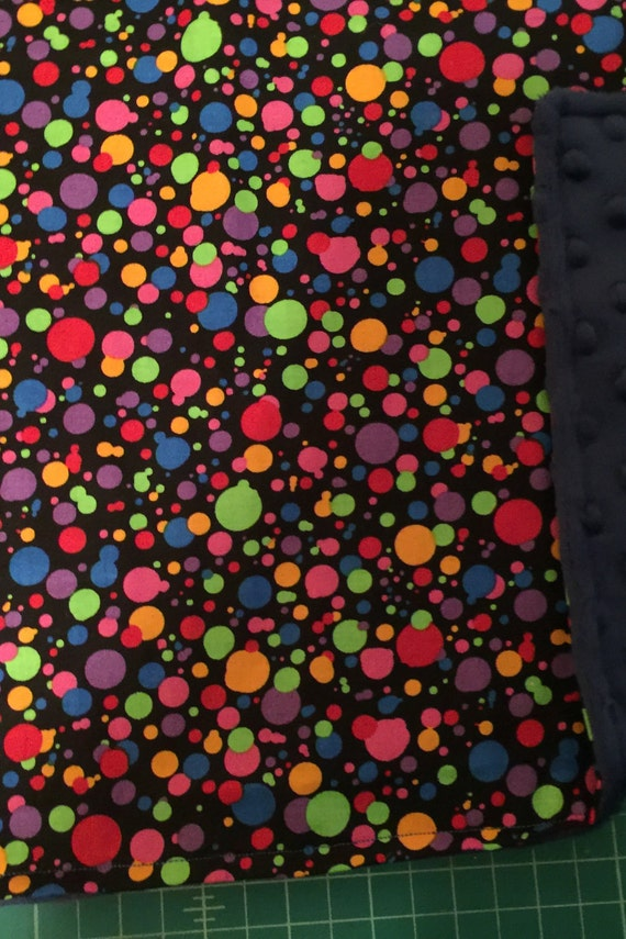 COLORFUL DOTS Fabric Tradition Baby Blanket 27 x 27 inches Custom made Blanket & Crinkle Pacifier Blanket Holder