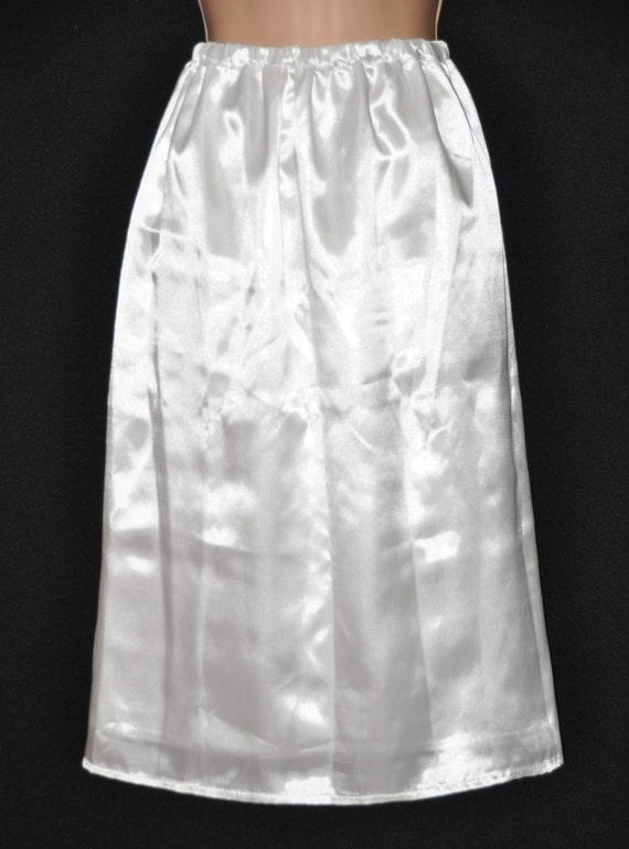 SLIP 3X - Double layered silky satin slip / petticoat, virgin white, Sissy Lingerie