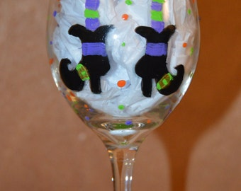 Hand Painted Witche's Brew Wine Glass
