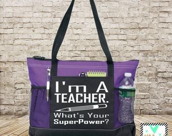 Teacher Gift - I'm A Teacher What's Your SuperPower? - Tote Bag - Back To School - Teacher Bag - Teacher