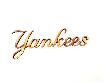 Yankees wood cutout| Laser cut wood Yankees