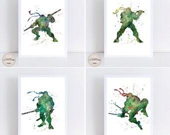 Nursery prints,Ninja Turtles, Boys Nursery prints, Baby nursery prints, Bedroom Art Wall, Ninja Turtle Prints,