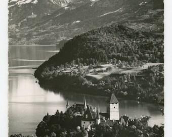 Schloss Spiez 85- vintage real photo postcard - Friedr. von Allmen Spiez- RPPC- Berner Oberland- Thunersee- Bernese Alps Switzerland